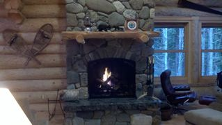 Gouldsboro cabin photo - An inviting fire in the Great Room following a day of activity...
