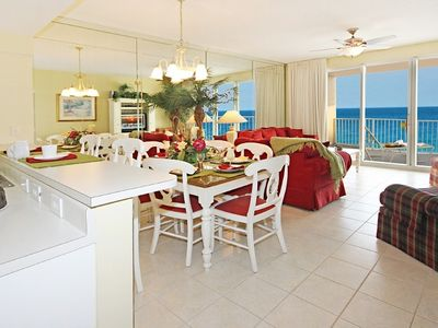Living, Dining Area and Kitchen with Great View of the Gulf