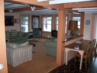 Mousam Lake cottage photo - Livingroom, 3 couches & only 3' from water VIEW