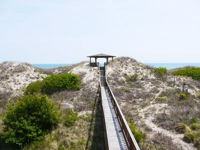 Beach walkway with dune top deck.