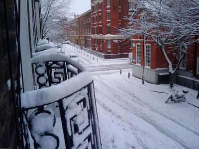 View from the kitchen window after a rare snowfall on Handel Street!