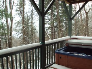 Boone cabin photo - Private jacuzzi for 6 overlooking the mountains is a family favorite