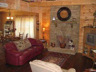 Pine Mountain cabin photo - Living Room with Wood Buring Rock Fireplace