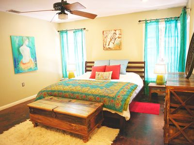 Boho Chic heaven -- master bedroom with King