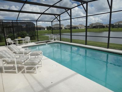 Sunbathers can relax overlooking the water and heated jacuzzi-tub.