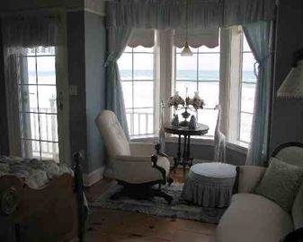 Captain's Quarters is one of two oceanfront master suites includes fireplace.