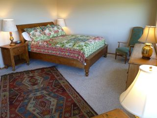 Bandon house photo - Master bedroom with California King bed and private deck