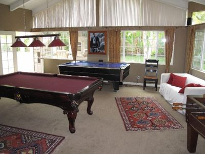 Game Room with Pool Table, Air Hockey, Foosball, Ping Pong, Board Games & Stereo