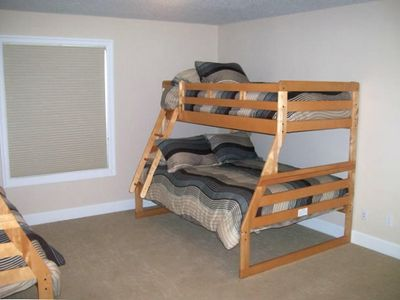 Double set of  bunkbeds, full on bottom twin on top !