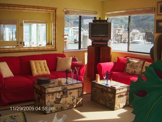 Sausalito house boat photo - Living room with views in all directions of the bay and Mt. Tam