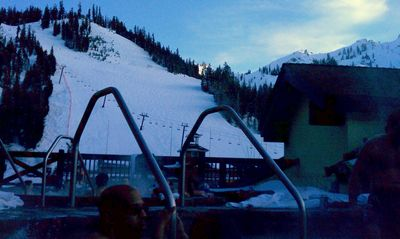 "Relax in the hot tub after a ""work"" day on the slopes."