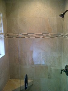 New shower in master bath (2012) with tile and glass door