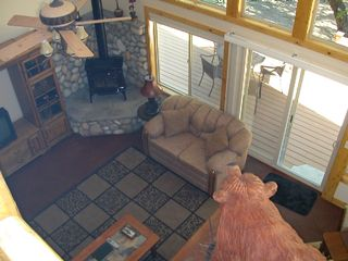 Mount Shasta cabin photo - View of Living room from upstairs