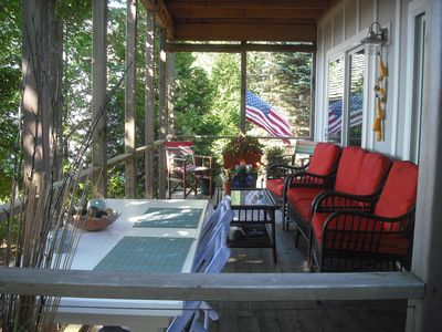 Covered porch off kitchen, looking towards Lake Michigan