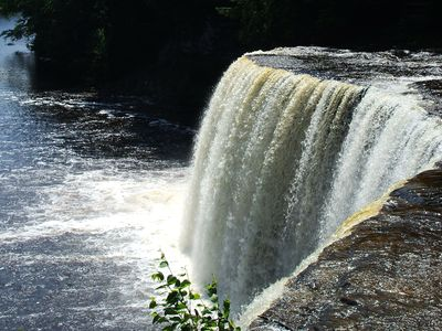The beautiful Tahquamenon Falls.