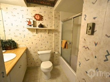 One of two full bathrooms