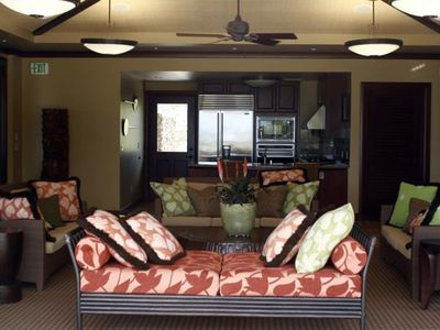 Relax in the beautiful living room of the Wai'ula'ula Amenity Center.
