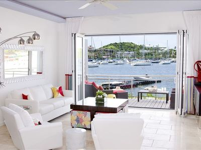 Town Home Living Room with deck and view of marina