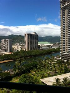 View from backdoor (main entrance) overlooking Ala Wai Canal and Convention Ctr