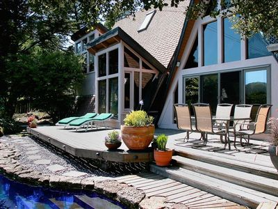 Large private deck area, swimming pool and redwood hot tub with stunning views