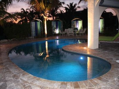 Heated soft water pool. Use day and night. Over looks the Ocean.