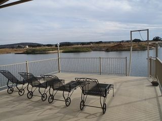 Kingsland house photo - View from top deck of boat dock. Perfect for lounging in the sun