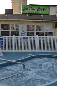 Bikini Bobs bar and grill. Reasonably priced food. Enjoy the two hot tubs.