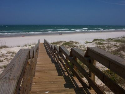 Boardwalk to beach from private beach club