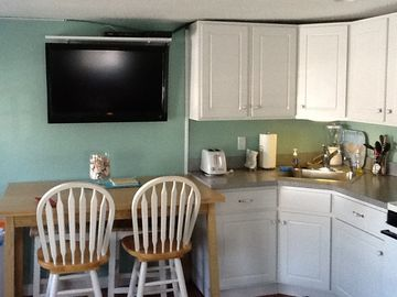 Kitchen and flat screen HDTV
