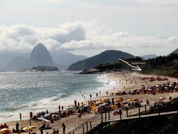 OUR Beach, apartment + suger Loaf mountain Rio de Janeiro in background.