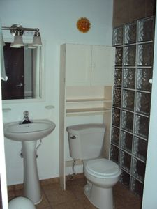 Newly Remolded bathroom (2011) with Tile Glass Shower and on-demand hot water.