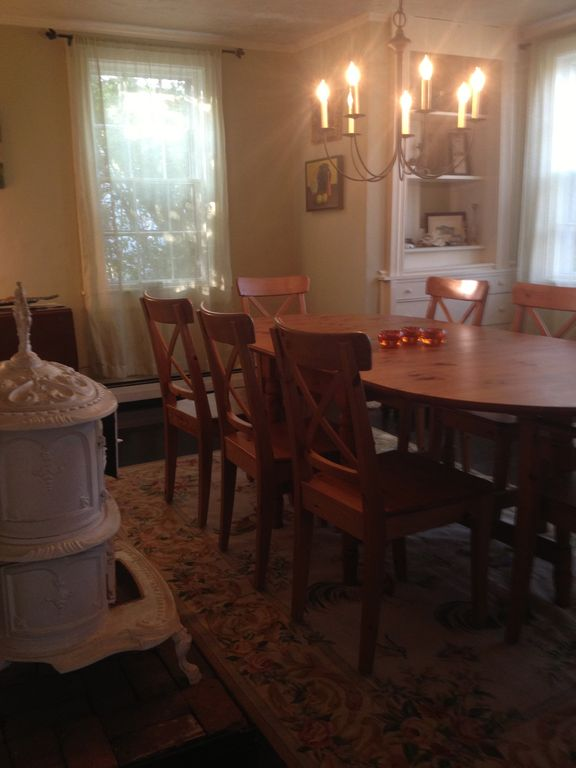 Formal dining room perfect for indoor entertaining during fall, winter & spring.