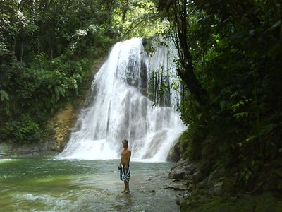 That's Toms at the Secret San Sebastian Waterfalls.