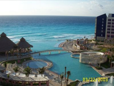 Cancun villa rental - Can you tell where the pool ends and the ocean begins? Such beauty!!