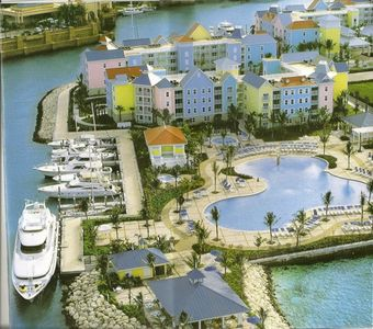 Aerial view of Harborside at Atlantis.  Casino is at upper left.