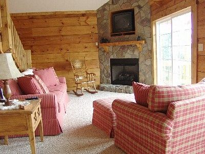 Cozy Living Room With Stone Fireplace (Gas Logs) & Big Screen HD Satellite TV