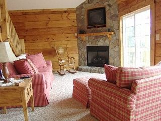 Fancy Gap cabin photo - Cozy Living Room With Stone Fireplace (Gas Logs) & Big Screen HD Satellite TV