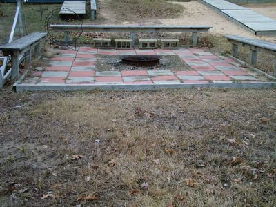 Muskegon house rental - our very popular firepit close to the lake