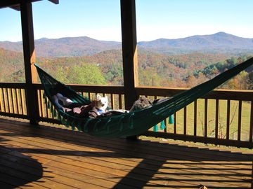 Relax on 2 porch hammocks