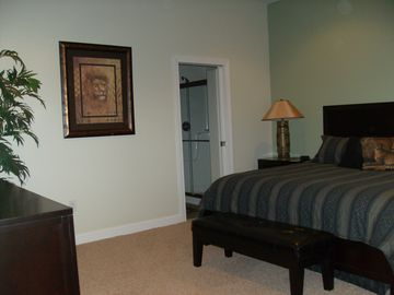 This Downstairs Master Suite Has a King Size Bed, Desk and Large Walk in Closet.