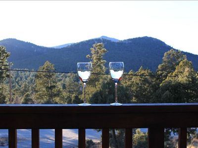 Ruidoso cabin rental - sunset view from deck