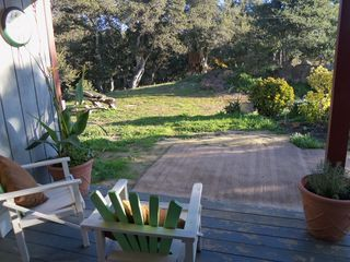 Monterey house photo - Peace and serenity on the veranda,BBQ & fire pit, picnic table, lots of seating.