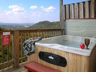 Enjoy the hot tub over looking the stunning views.