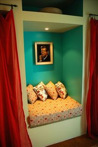 Nestle into a cozy spot  where you can hear yourself think or read a book..