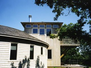 Chilmark house photo - closer view of covered porch, the decks, and 2nd floor LR from west side