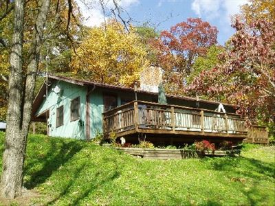 Near Luray, Va is the Knotty Pine Cottage surrounded in fall colors.