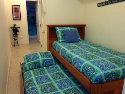 Check out the trundle bed!  The kids will love it!  Comfy for adults too!