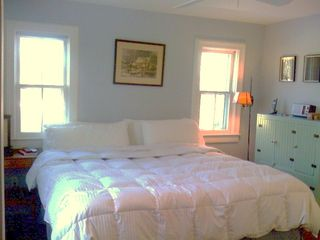 Bridgehampton house photo - master bedroom with private bath and walk in closet overlooks garden