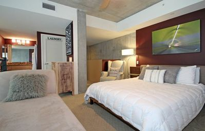 San Diego condo rental - Refuel. Ultra-comfortable signature bed w/ nine foot ceilings & large windows.