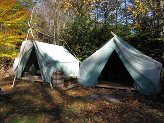 Newfound Lake cabin photo - Very cool Glamping tents. Real queen bed in one, two twins in the other. tv